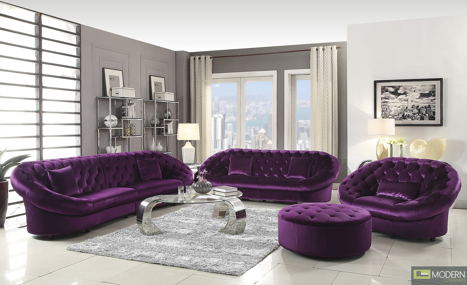 Romania Purple Velvet Tufted Sofa Set