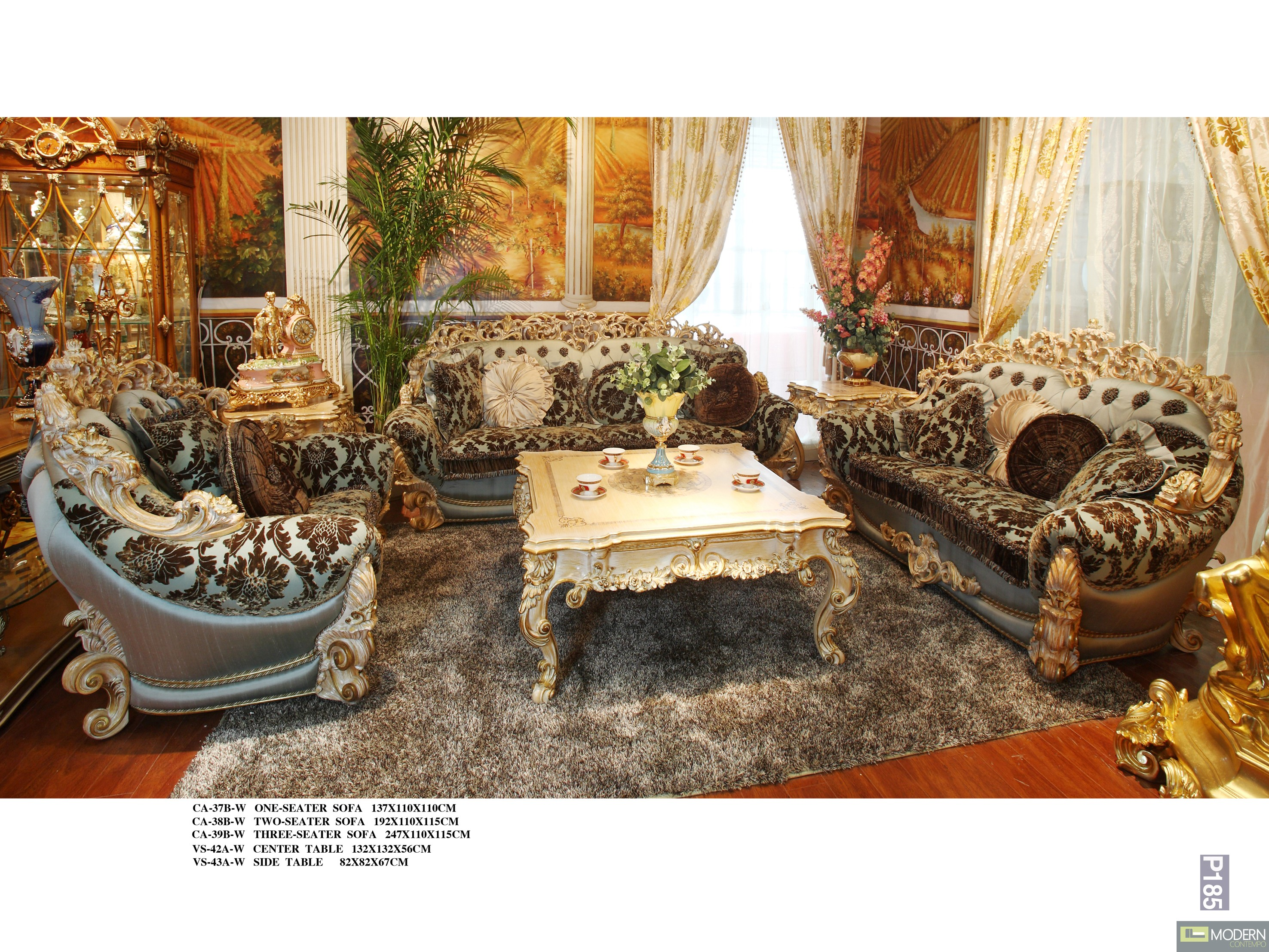 3pc Italian European Antique Hand Carving Luxury Living Room Sofa  ~ Sofa Set With Center Table