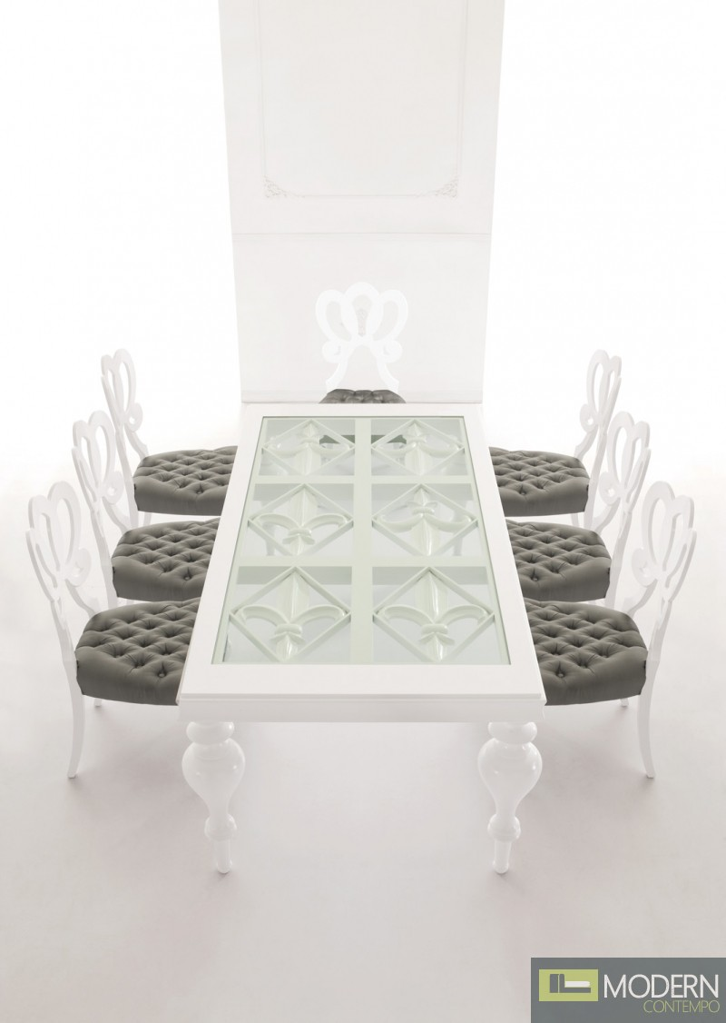 Padova Modern Solid Wood White Lacquered Dining Table