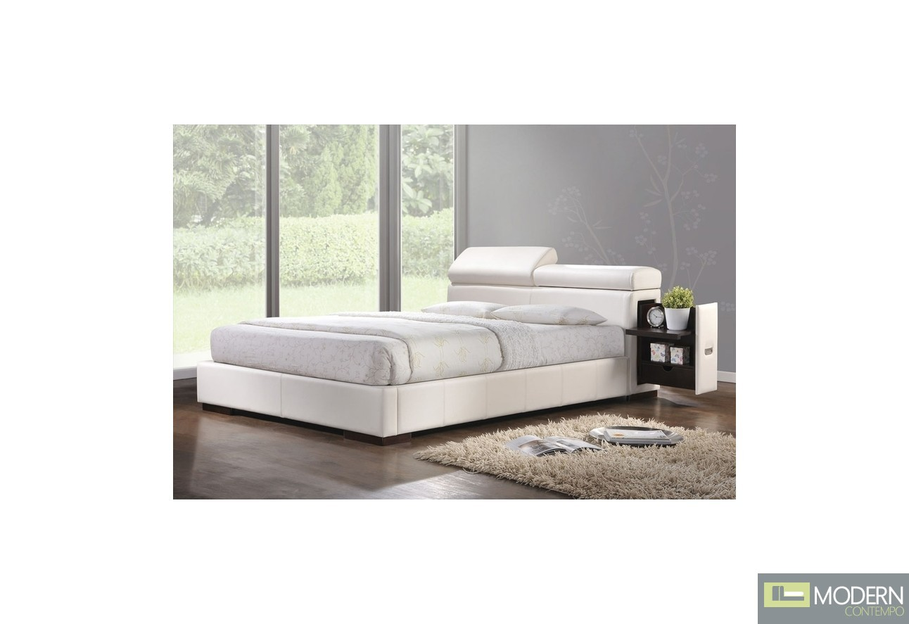 Modern Upholstered Bed in White Leatherette with built in  : 20420 acme manjot white pu uphlostered bed from moderncontempo.com size 1292 x 887 jpeg 111kB
