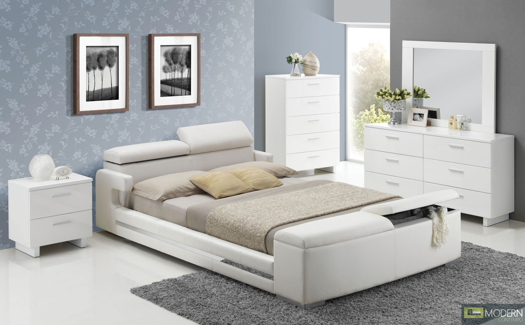 Modern Contemporary PU Upholstered Bed White Leatherette w/Storage