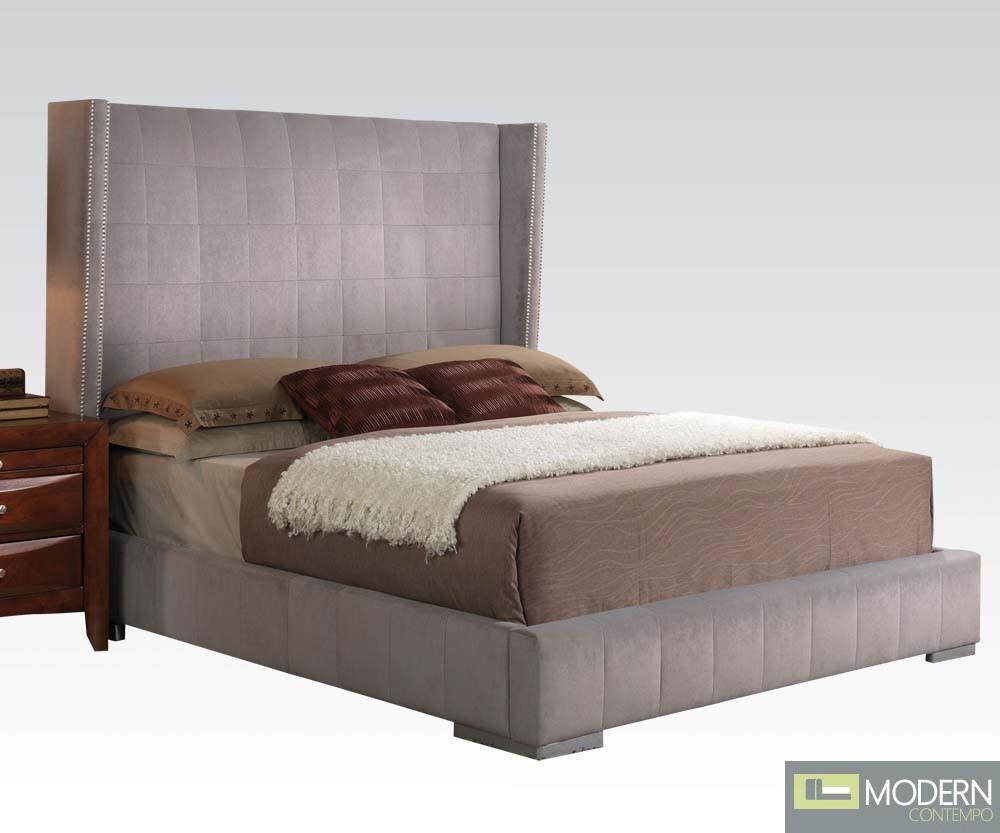Modern Velvet Gray Queen Bed