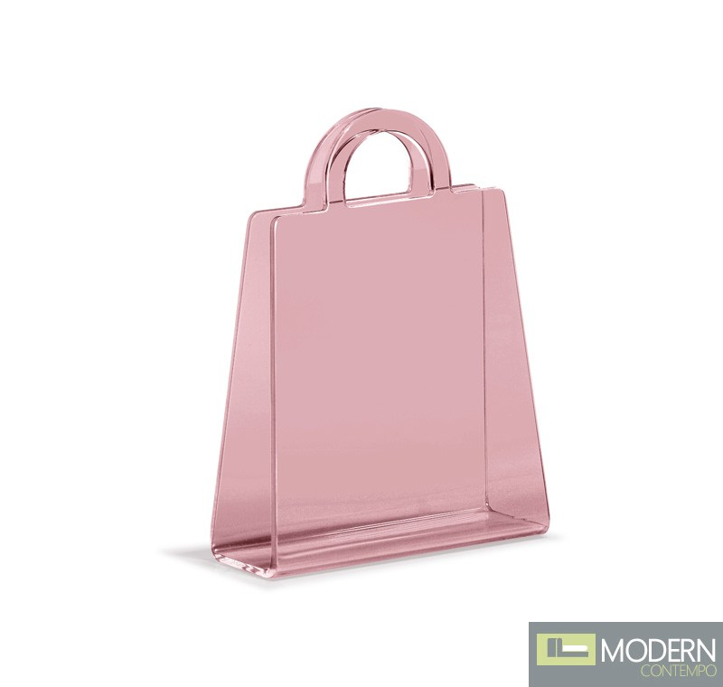 Purse Magazine Rack Transparent Pink