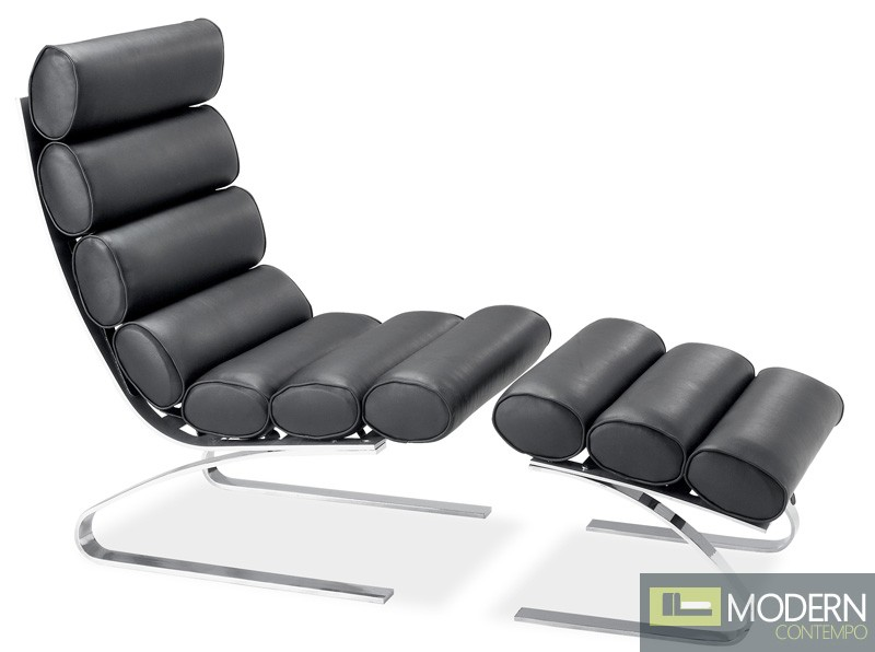 Unico Lounge & Ottoman Black