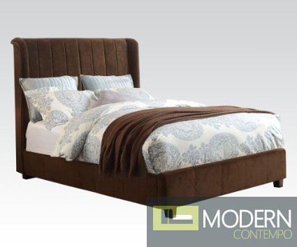 Contemporary Bed in Dark Brown Micro Velvet Fabric