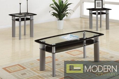 3Pc Contemporary Glass Top Coffee Table Set MCGSL3091, Free 24 to 72 hours inside delivery in DMV Area