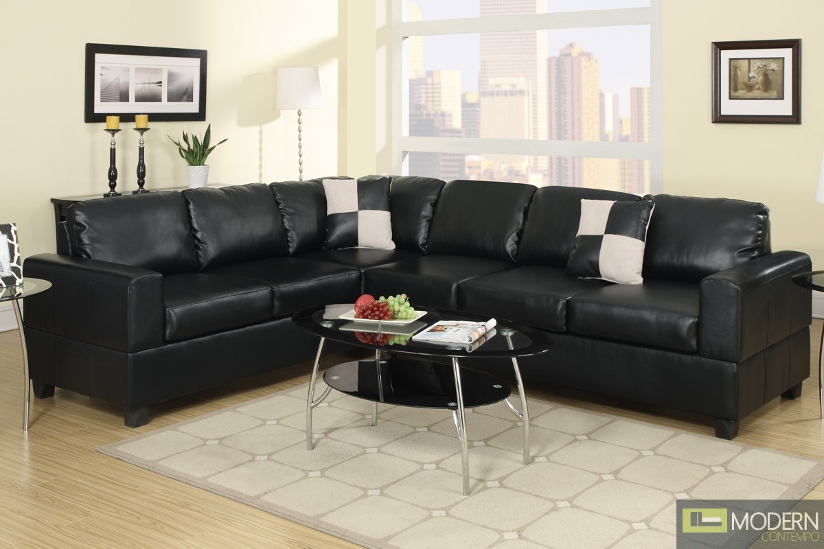 Black Bonded Leather Reversible Sectional MCGSL7630 Free 24 to 72 hours inside delivery
