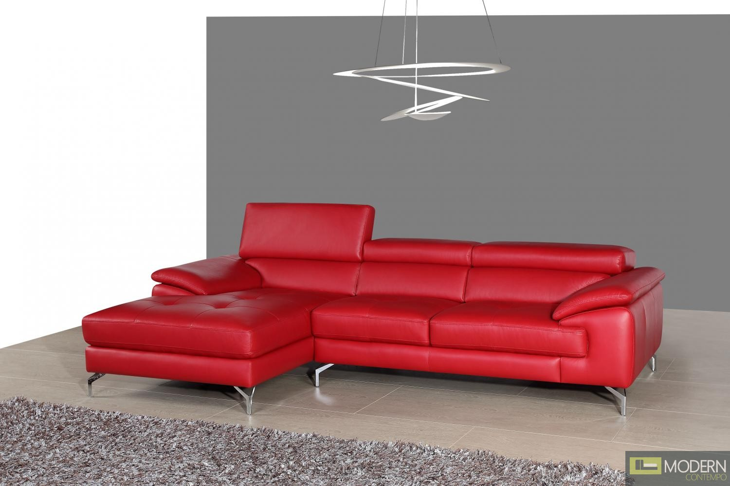 A973b italian leather mini sectional left facing chaise in red for Leather sectional sofa with left facing chaise
