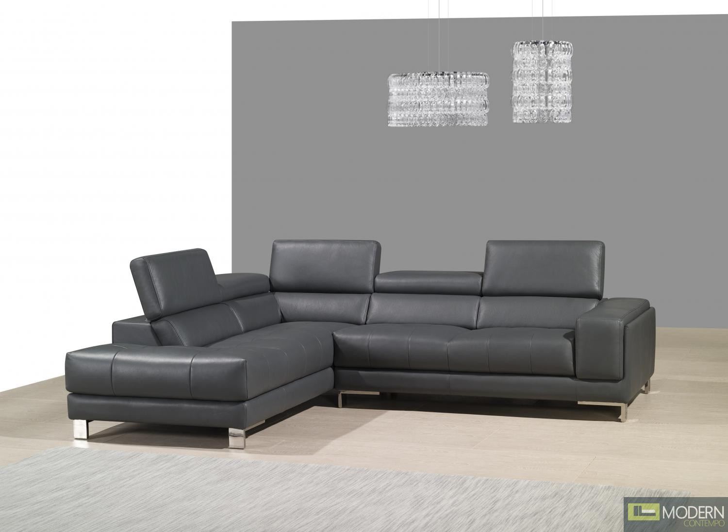 A990 italian leather left hand facing chaise sectional for Italian leather sectional sofa chaise