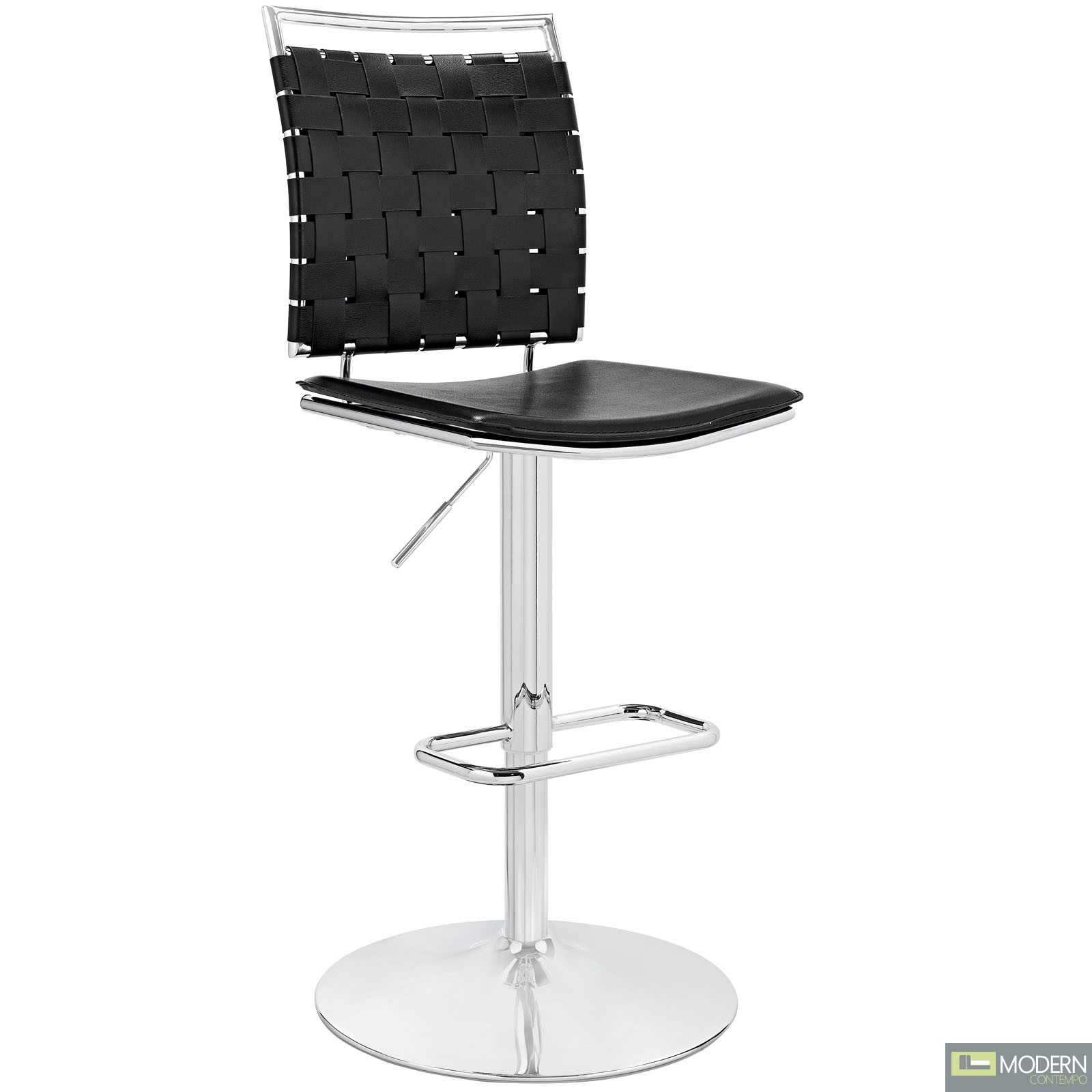 Fuse Adjustable Armless Bar Stool Black