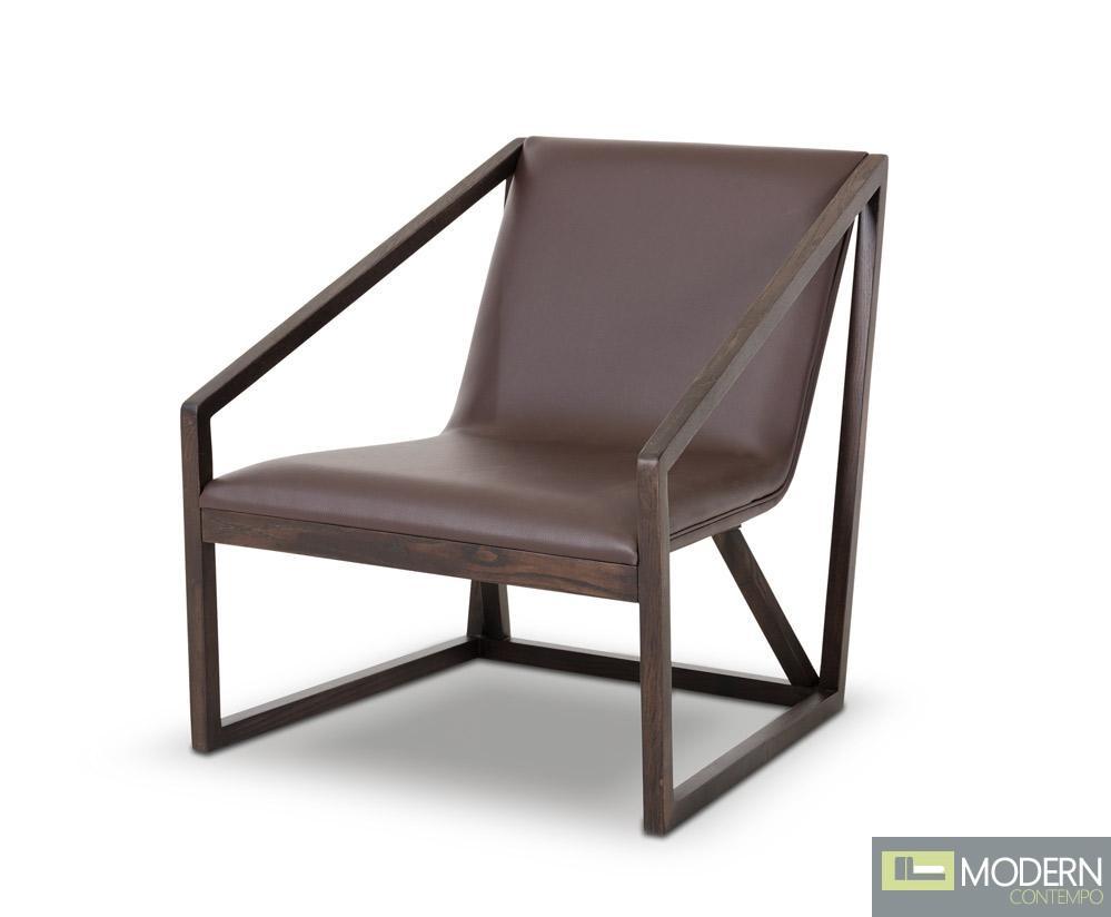 Divani Casa Taranto Modern Brown Leather Lounge Chair
