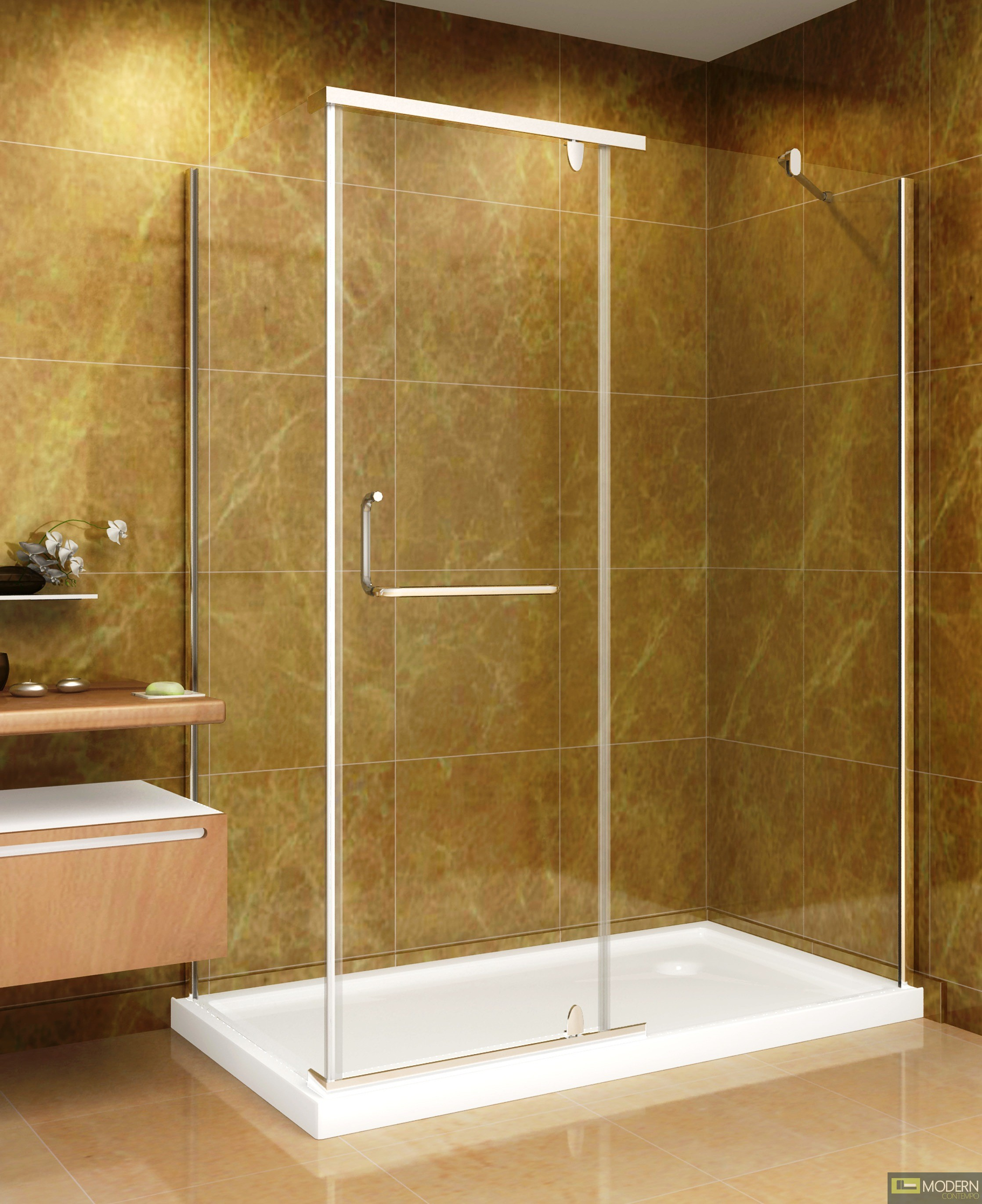 60 x 35 shower enclosure with acrylic shower base in for Glass or acrylic