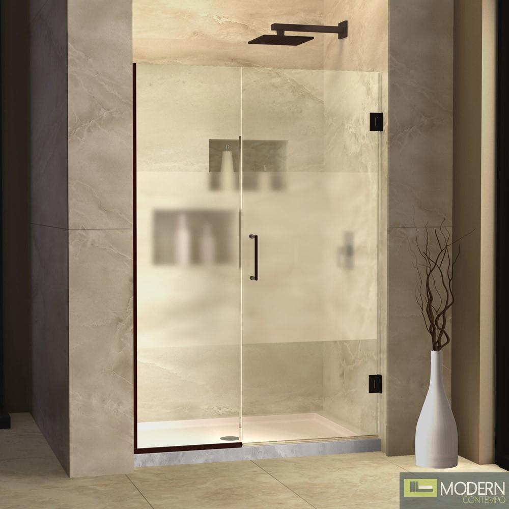 Unidoor Plus 53 to 53-1/2 in. W x 72 in. H Hinged Shower Door, Half Frosted Glass Door, Oil Rubbed Bronze Finish Hardware