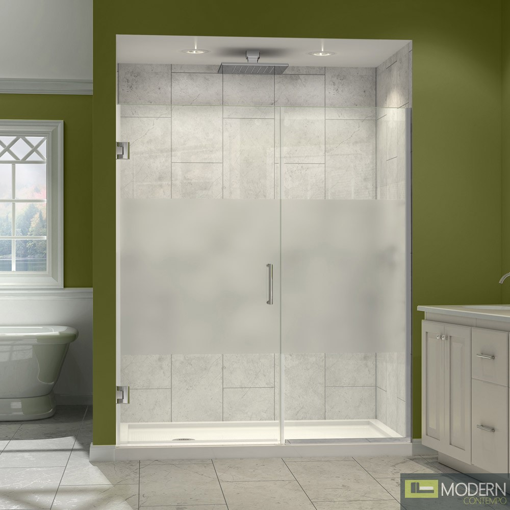 Unidoor Plus 50 to 50-1/2 in. W x 72 in. H Hinged Shower Door, Half Frosted Glass Door, Chrome Finish Hardware