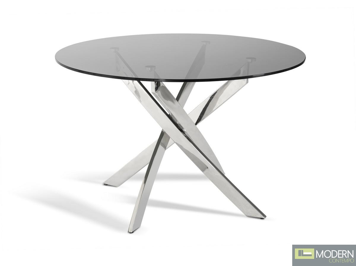 Modrest Spark Modern Smoked Glass Circular Dining Table