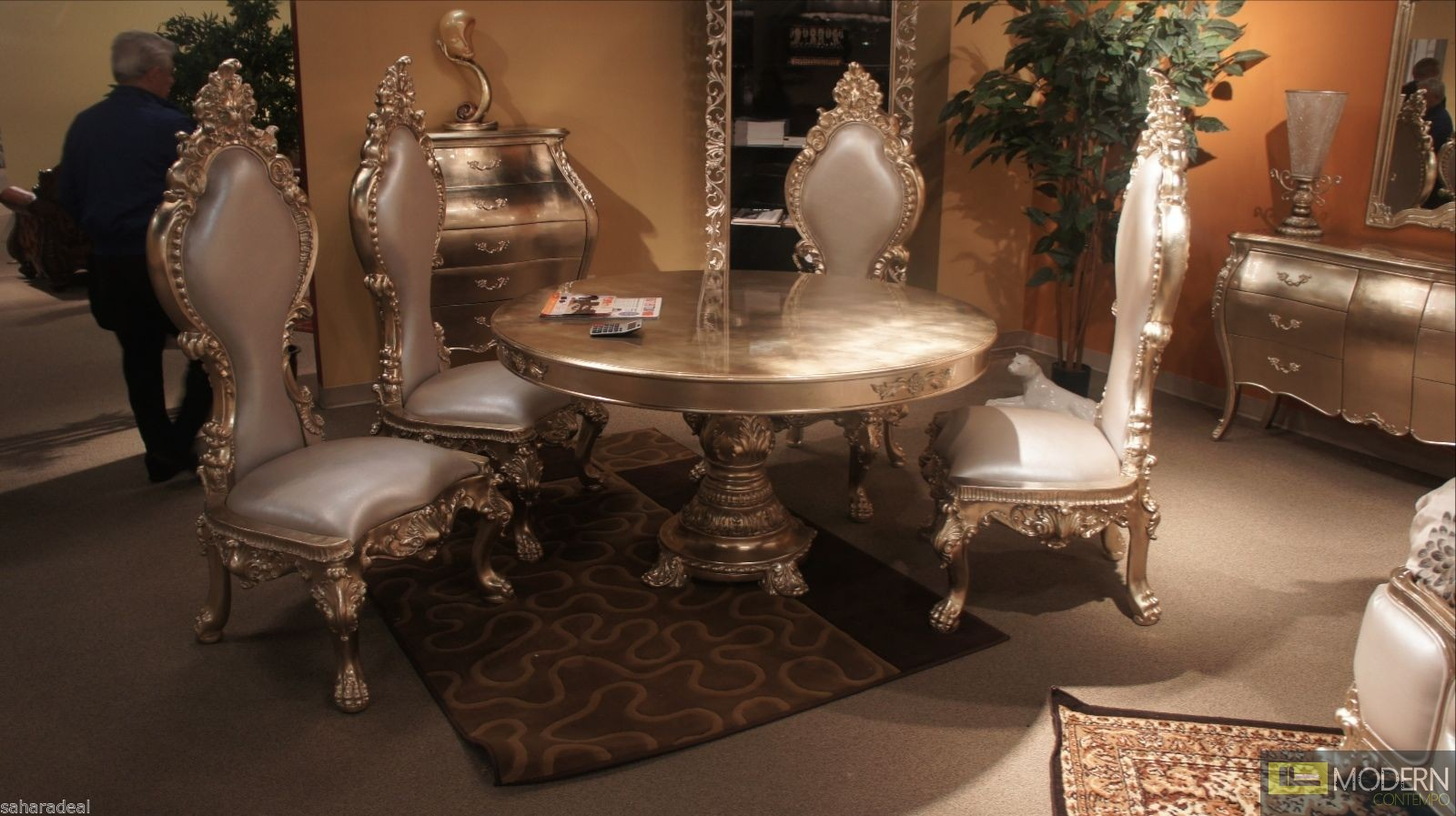 5pc ariel luxury champagne table chairs baroque antique for Baroque dining table set