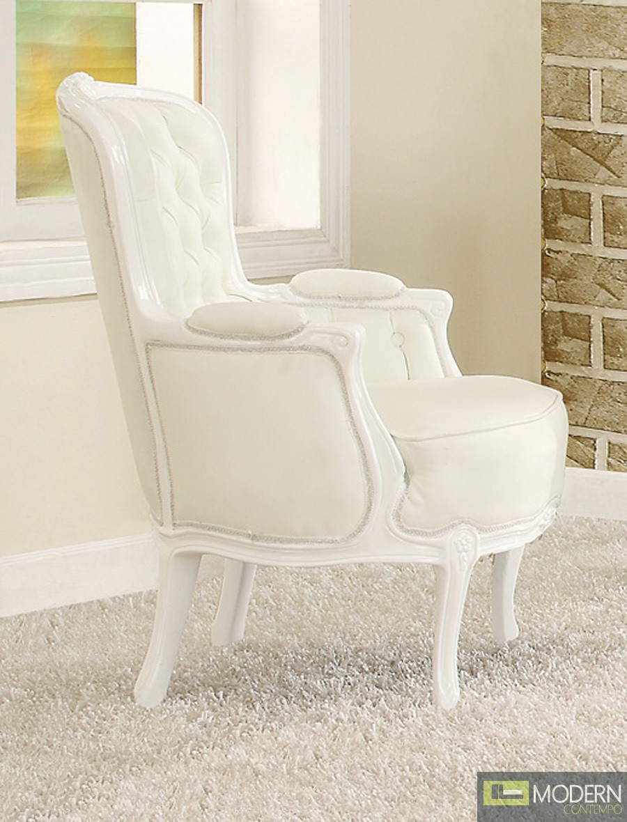 Athena White Button Tufted Victorian French Style Accent
