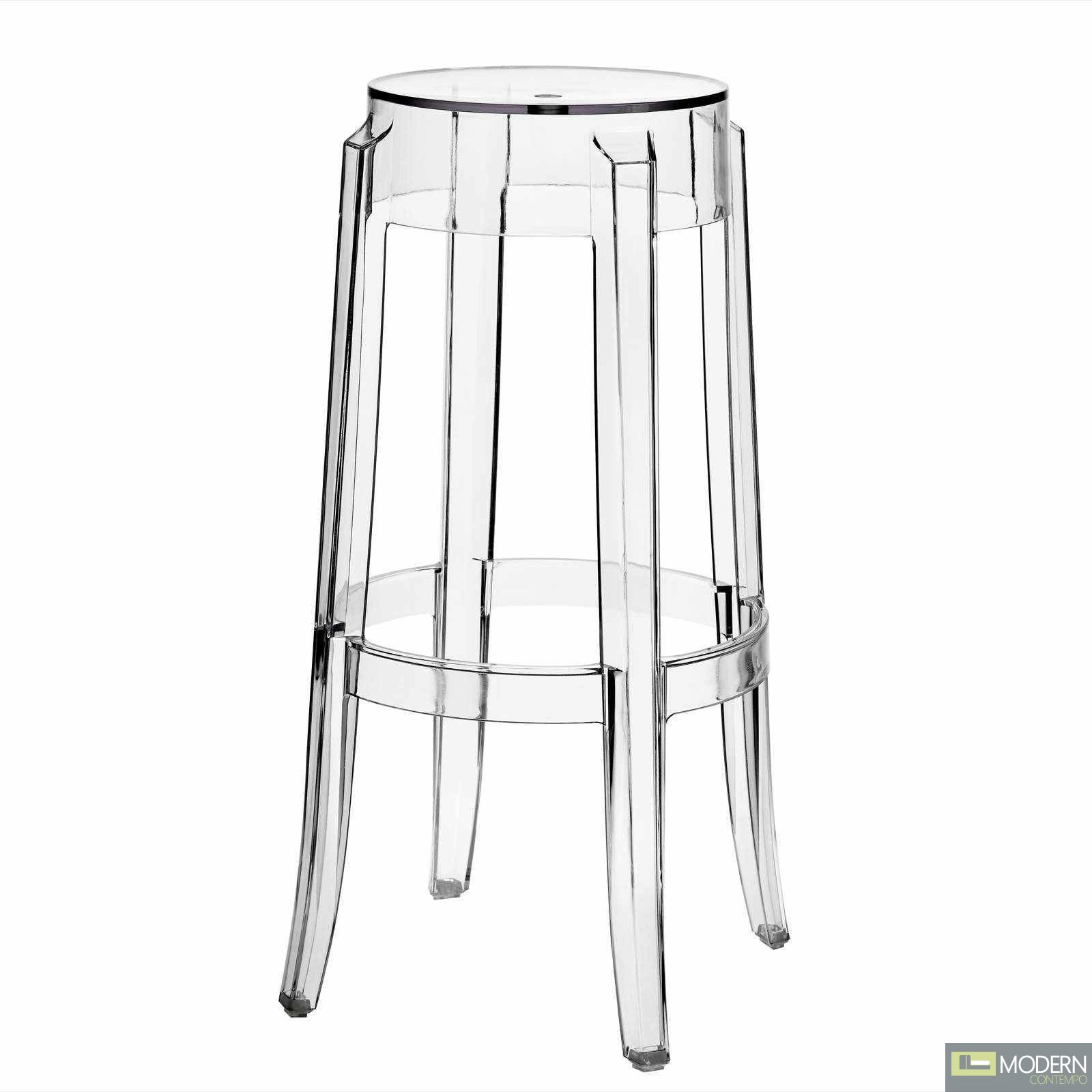 Charles ghost transparent counter bar stool - Ghost bar stools counter height ...