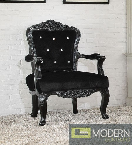 Athenia Victorian Style French Accent Arm Chair Black
