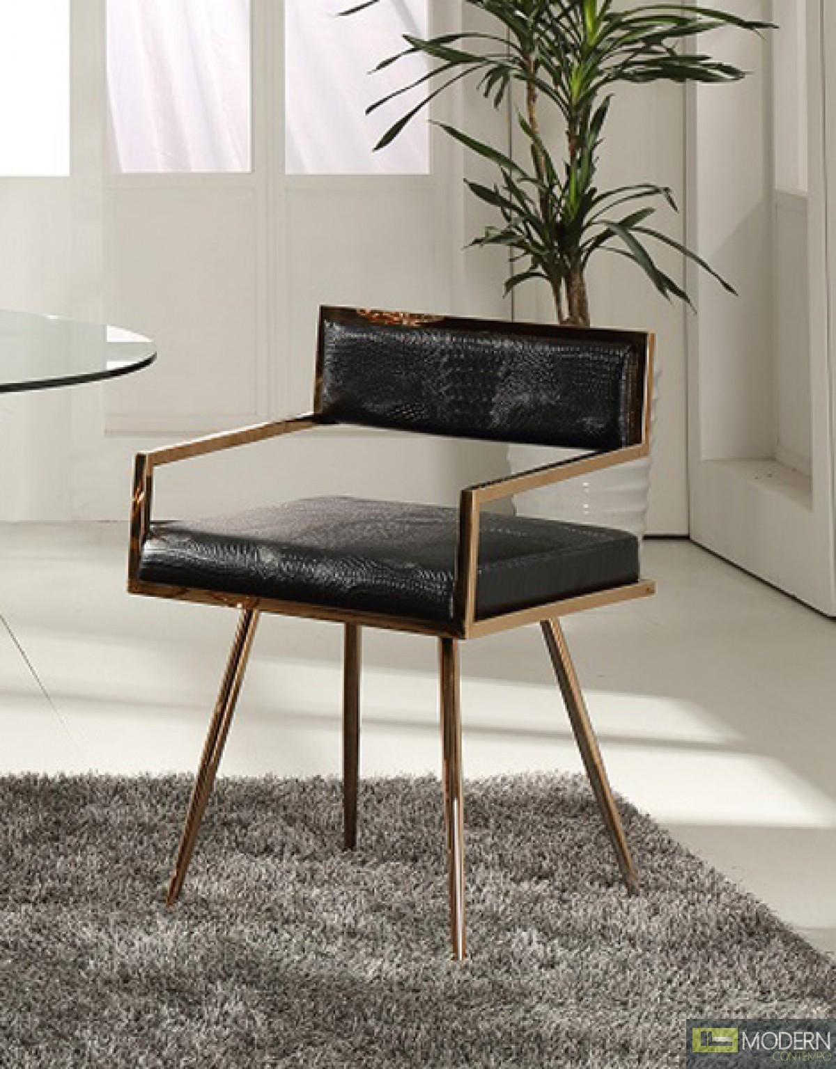 Alejandro Modern arm Chair in Black & Rose Gold