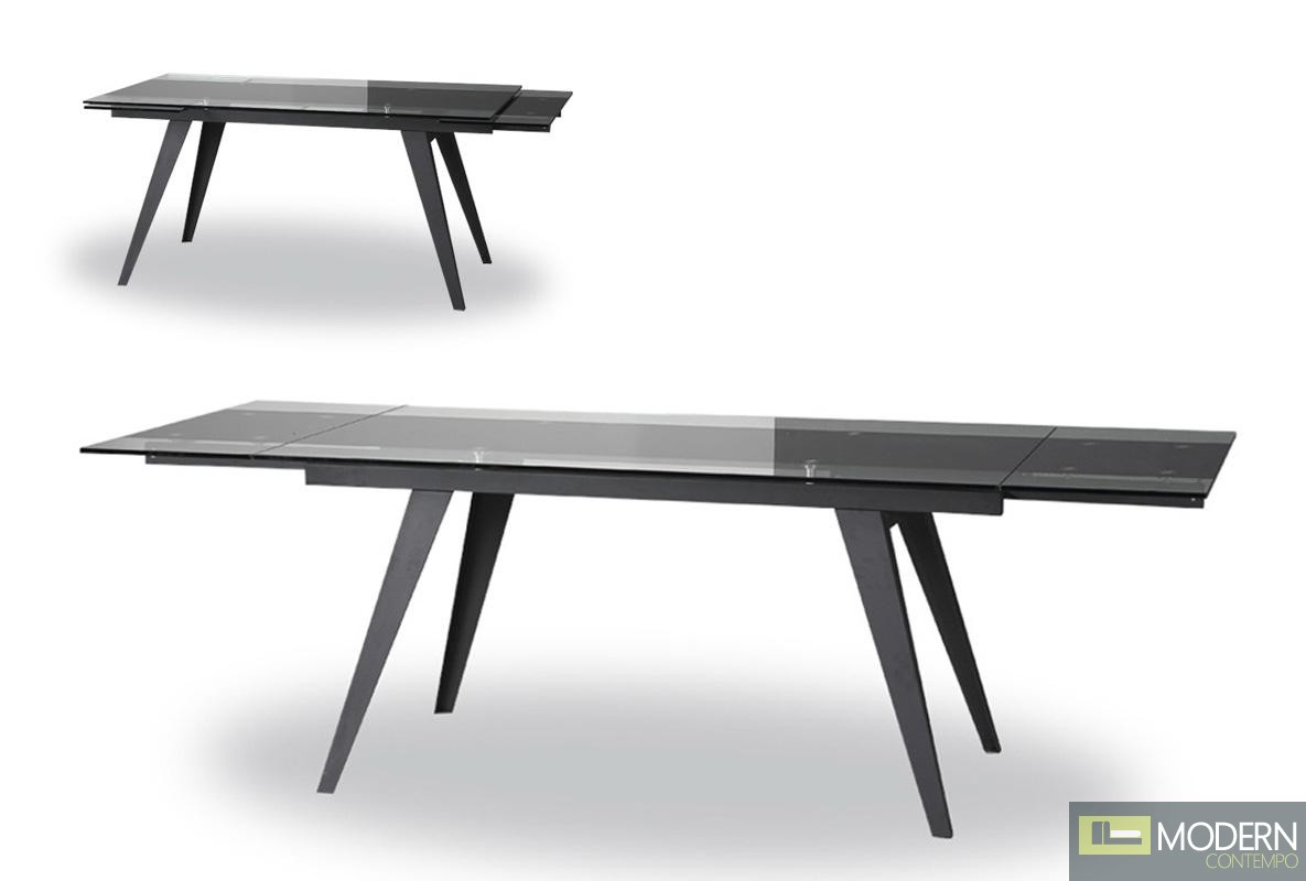 Modrest Barium Contemporary Black Glass Extendable Dining  : barium from moderncontempo.com size 1185 x 800 jpeg 53kB