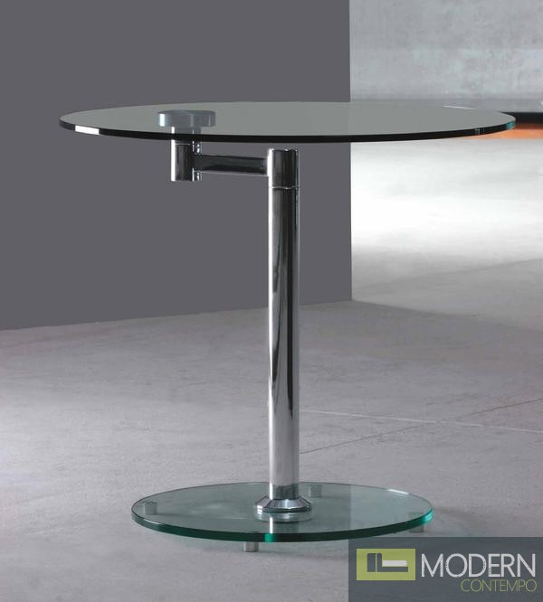 Bentina rotating glass side table for Revolving end table