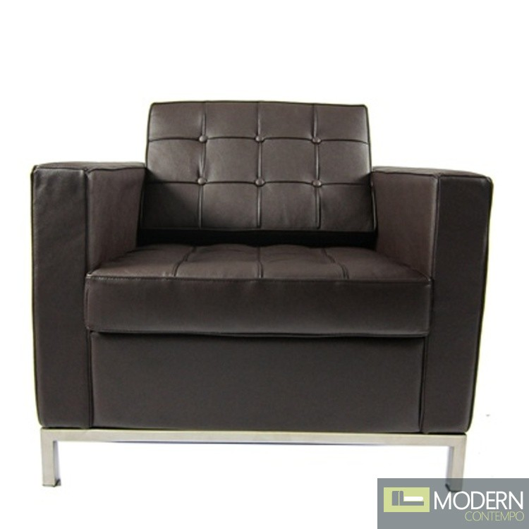 Button Arm Chair In Leather Brown