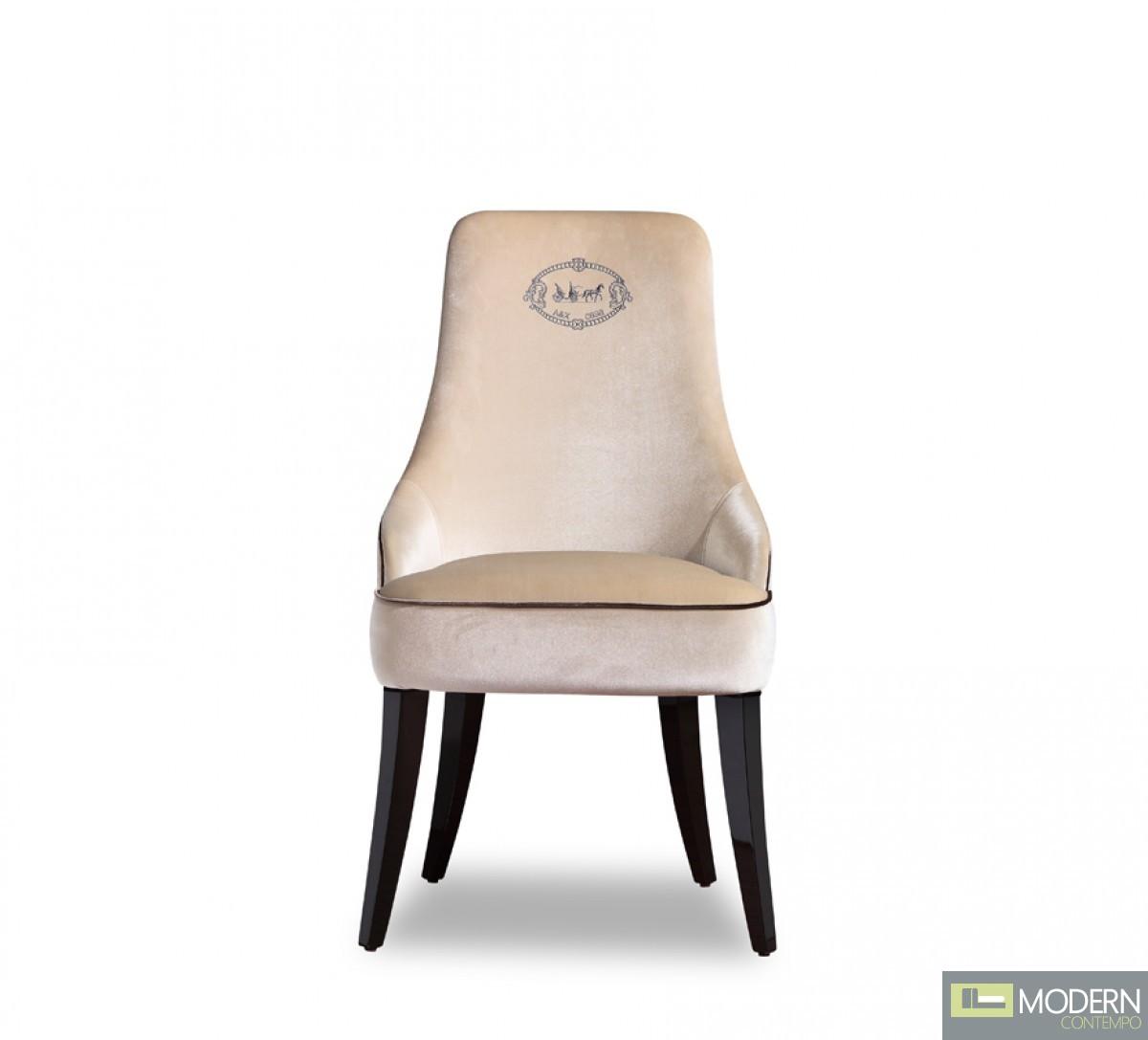 A Amp X Thalia Modern Off White Velour Dining Chair