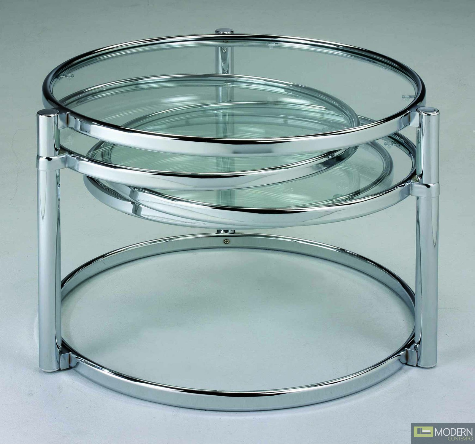 modern contemporary chrome swivel glass coffee cocktail table zcota15