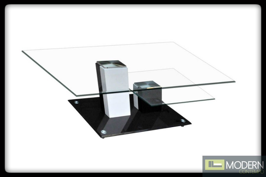 Modern Contemporary Unique Shape Black White Tempered Glass Coffee Table Tbqct194