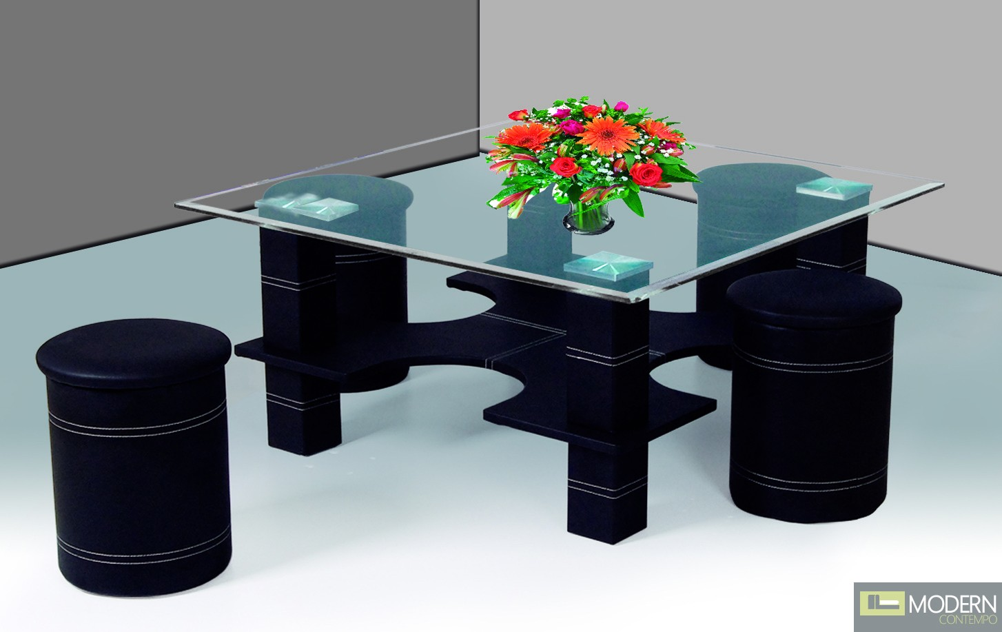 Modern Clear Tempered Glass Coffee Table Black Bar Stools Tbqct341
