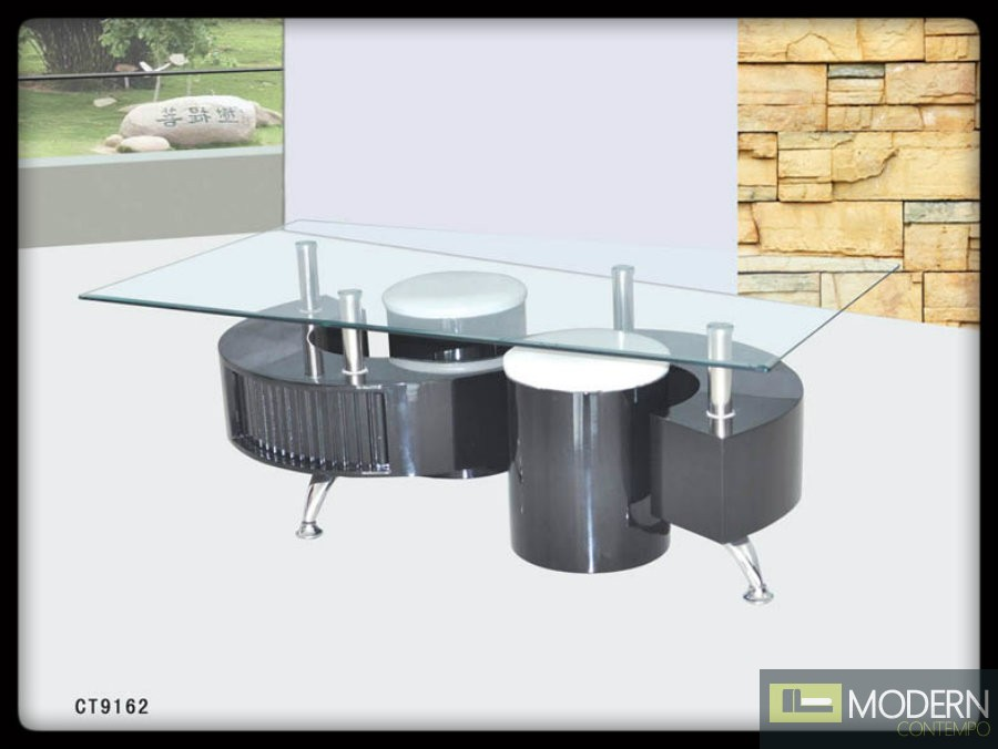 Modern Contemporary Tempered Glass Coffee Table With Black Or White Base Tbqct9161