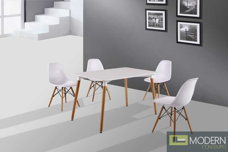 5pc Modern White Eames Style Eiffel Char and dining table set : d206 from moderncontempo.com size 800 x 533 jpeg 42kB