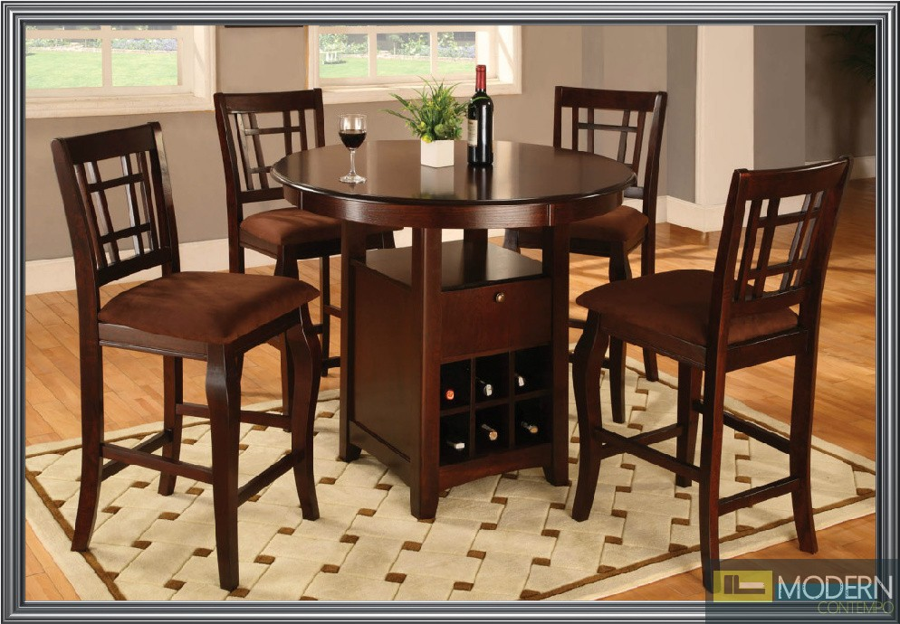 home 5 pc modern wooden counter height dining room table chairs set