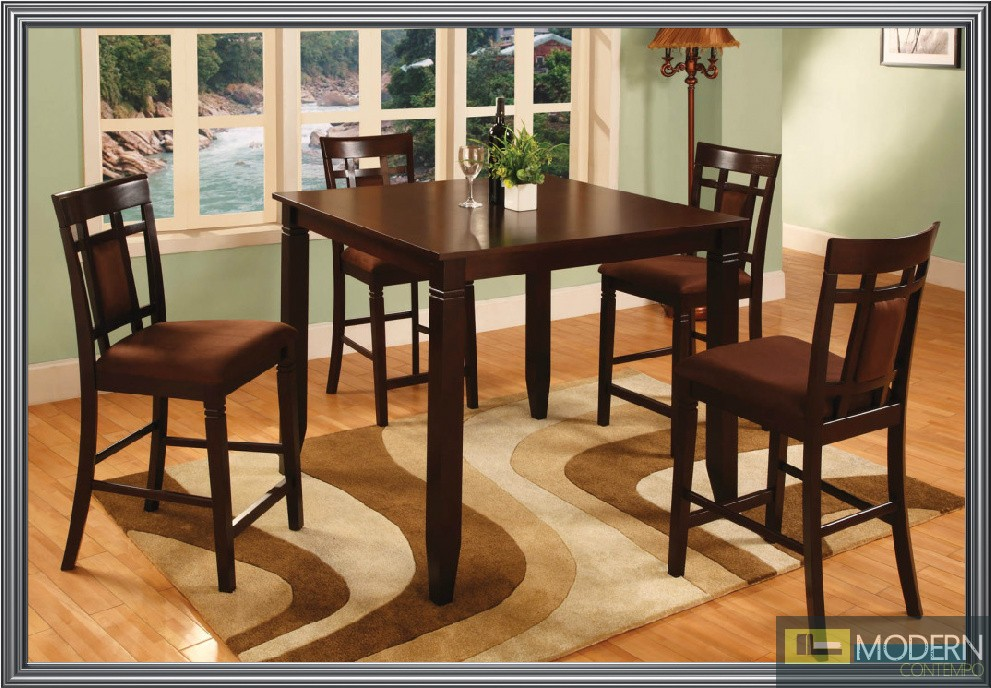 Affordable 5 Pc Modern Dark Cherry Finish Counter Height Dining Room Table A