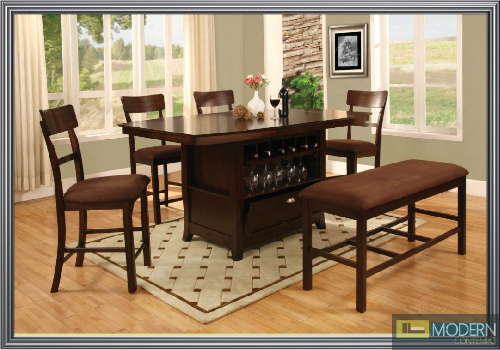 Affordable 6 Pc Modern Espresso Counter Height Dining Room