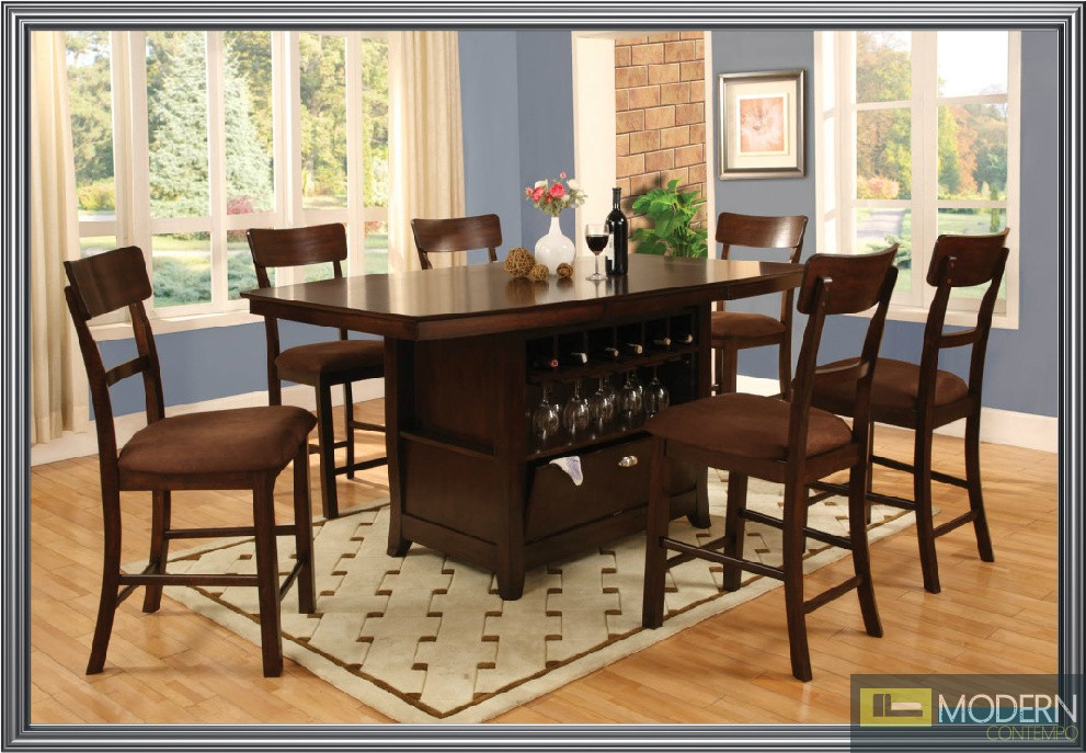 Affordable 6 Pc Modern Espresso Counter Height Dining Room Table Chairs