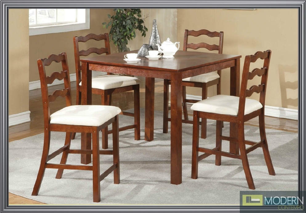 home 5 pc modern cherry counter height dining room table chairs set