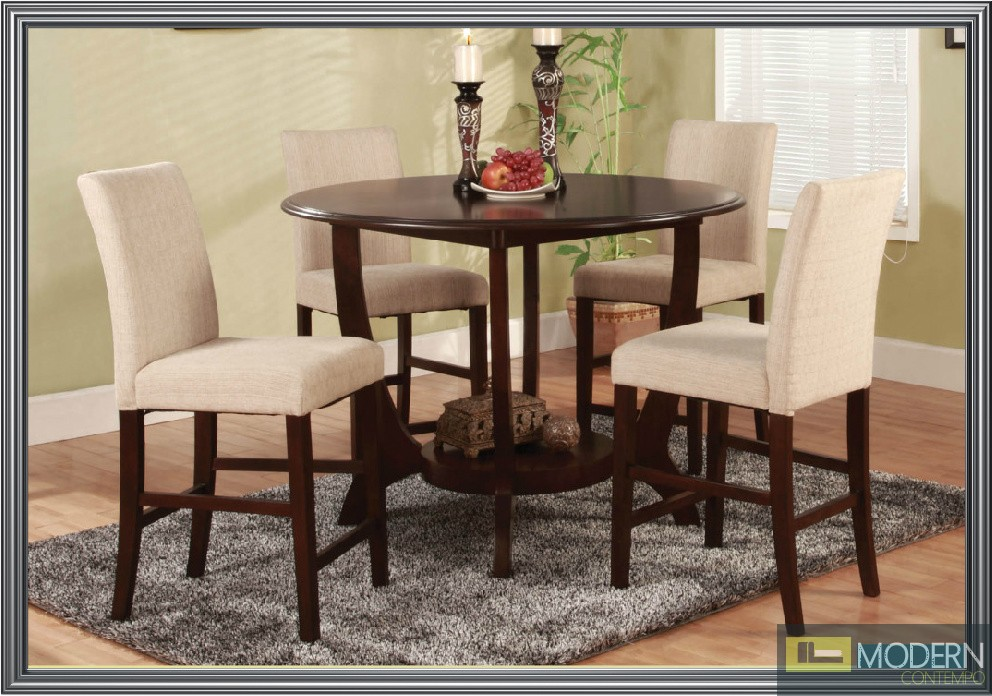 Affordable 5 Pc Modern Espresso Counter Height Dining Room Table Chairs