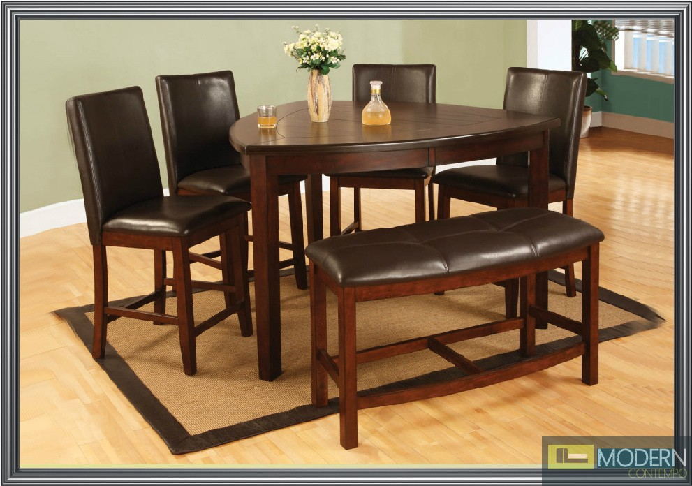 Affordable 6 pc modern cherry counter height dining room table chairs set tbqd876 Counter height bench
