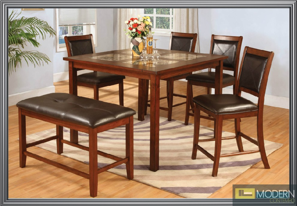 Affordable 6 Pc Modern Cherry Dining Set With Marble Inserts Top Table Counte