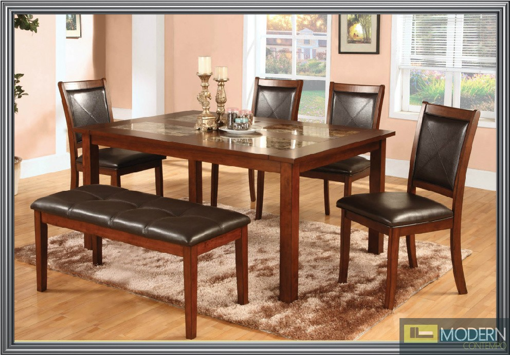 Affordable 6 Pc Modern Cherry Dining Set With Marble