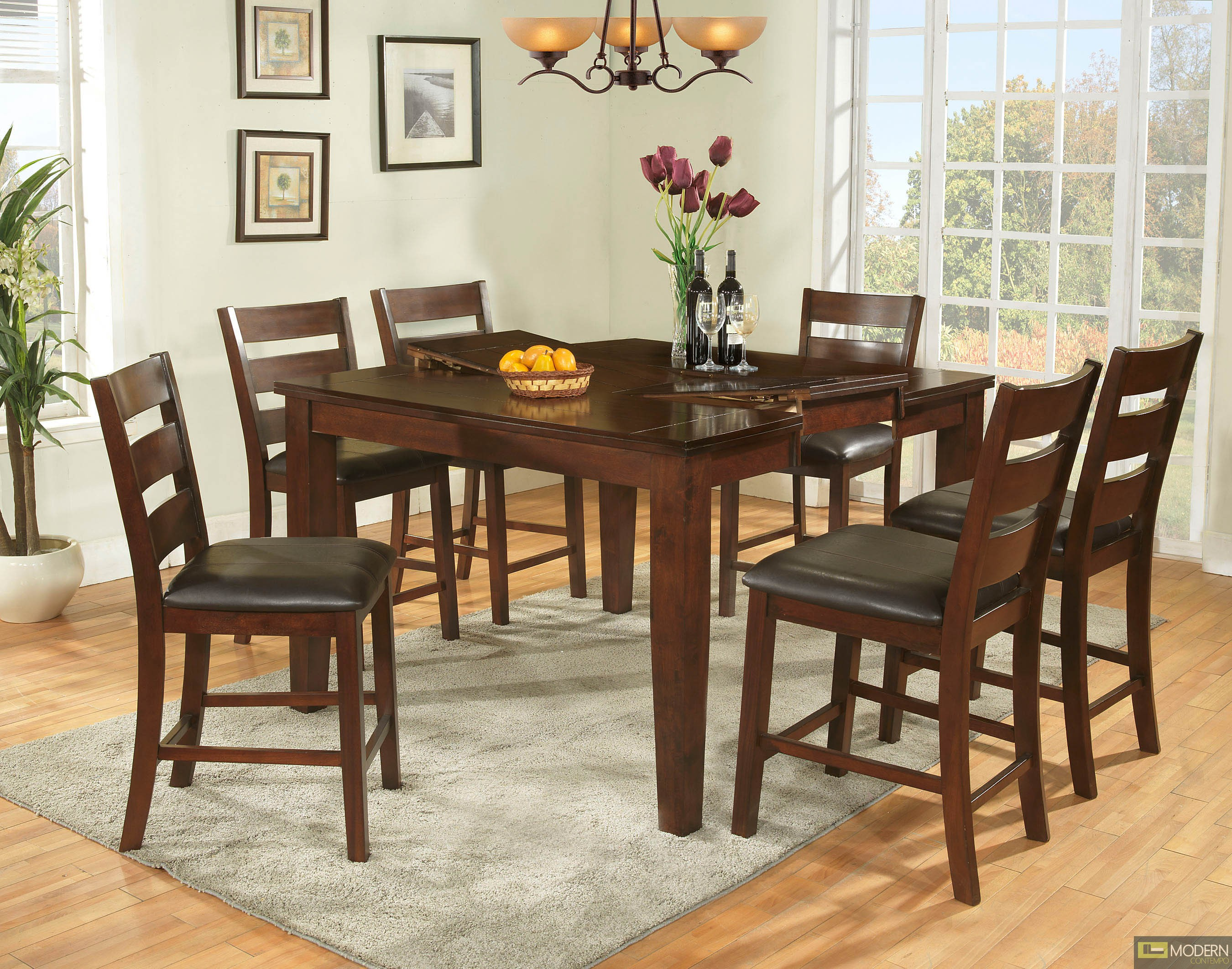 Affordable 7 Pc Modern Dark Walnut Counter Height Dining Room Table Cha