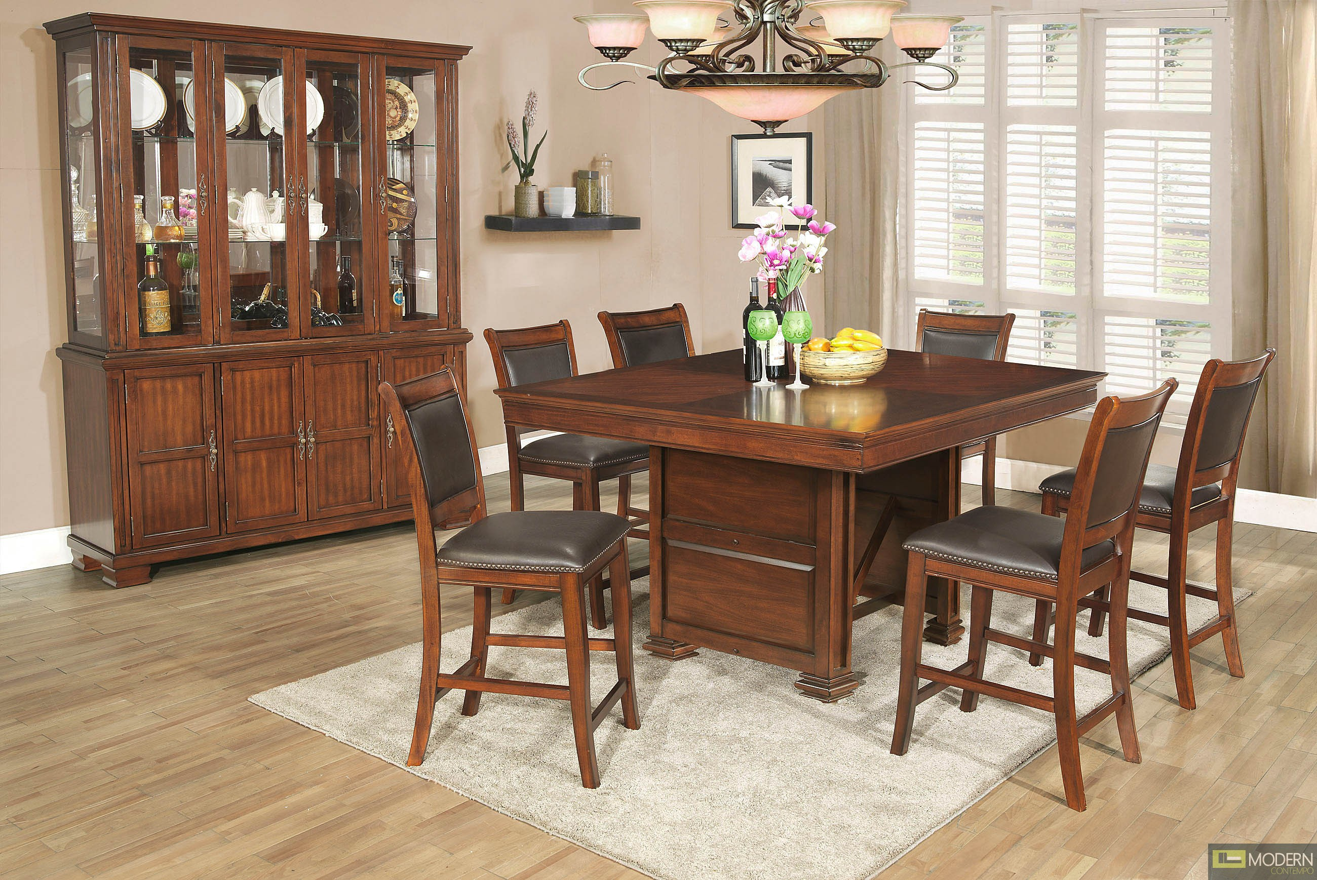 home 7 pc modern dirty oak counter height dining room table chairs