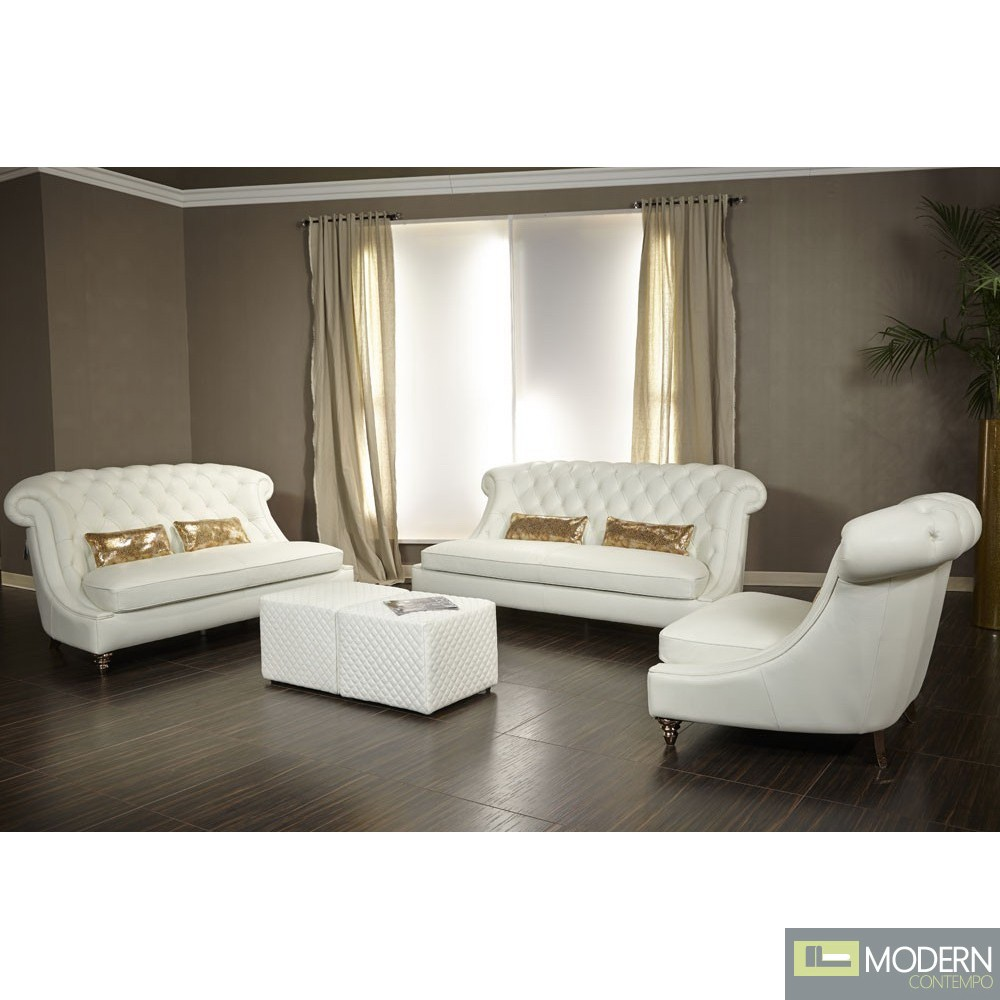 Michael Amini Living Room Furniture Bellami Damario Tufted Leather 2pc Sofa Set