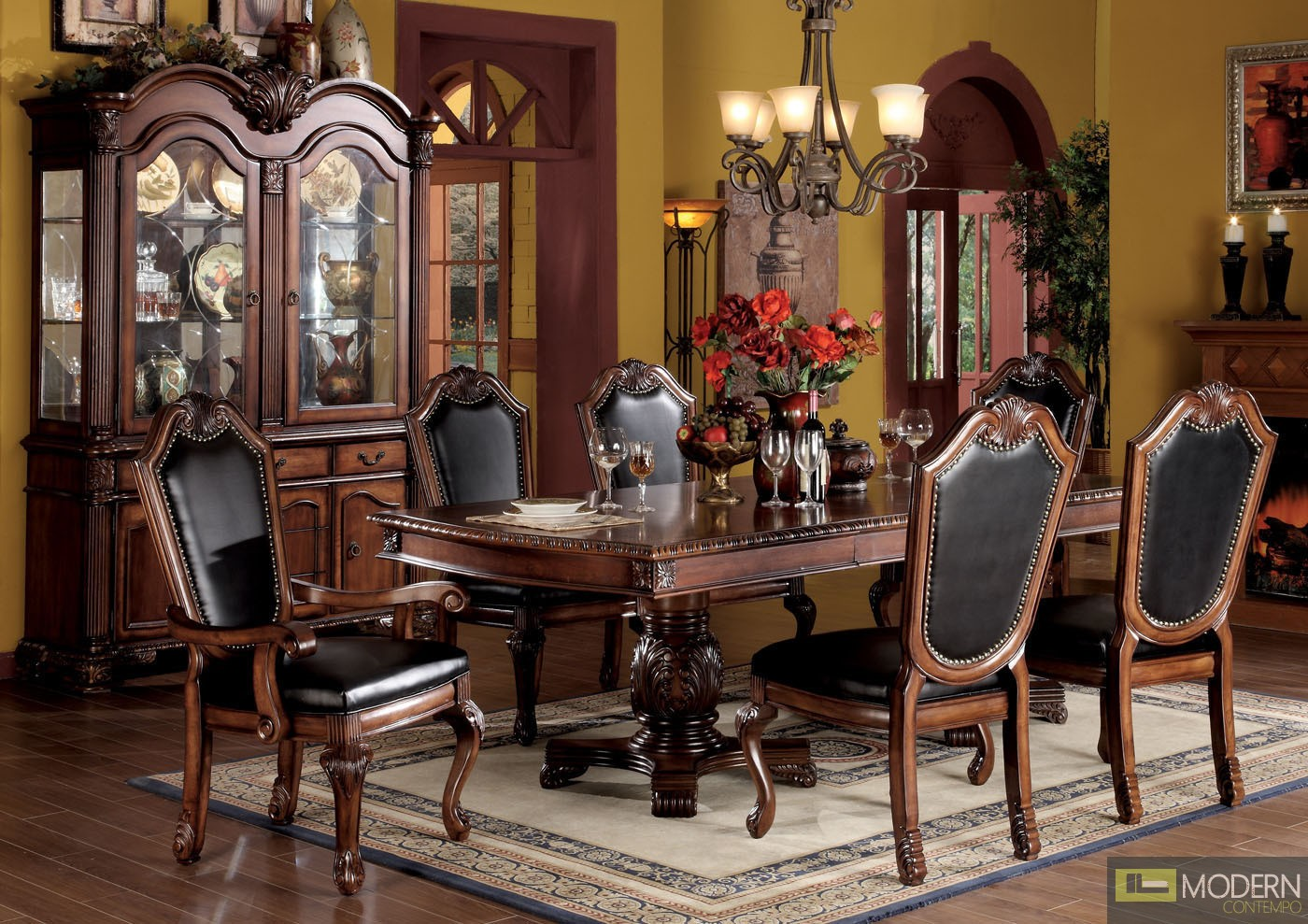7 pc high end cherry finish dining room set table and chairs zac04075. Black Bedroom Furniture Sets. Home Design Ideas