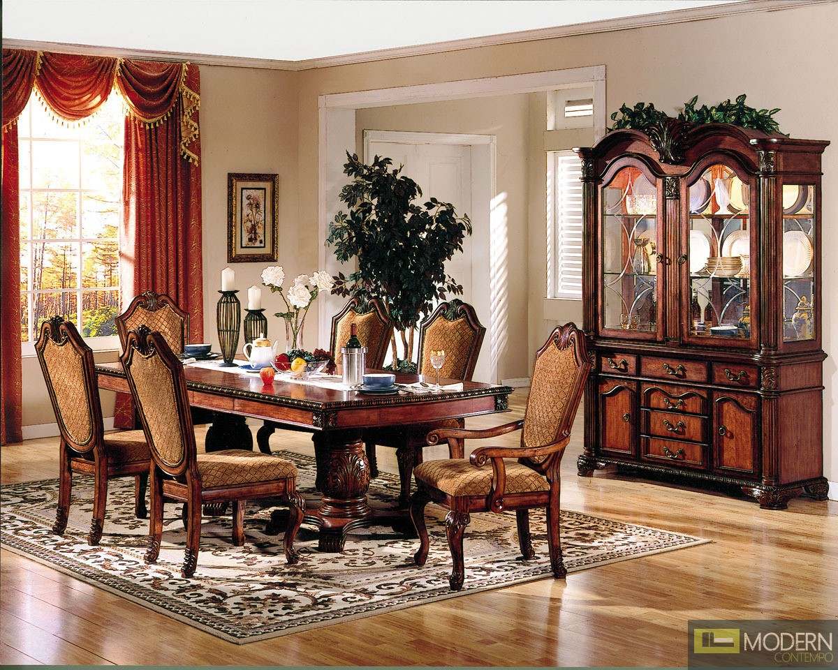 7 PC High End Cherry Finish Dining Room Set Table And