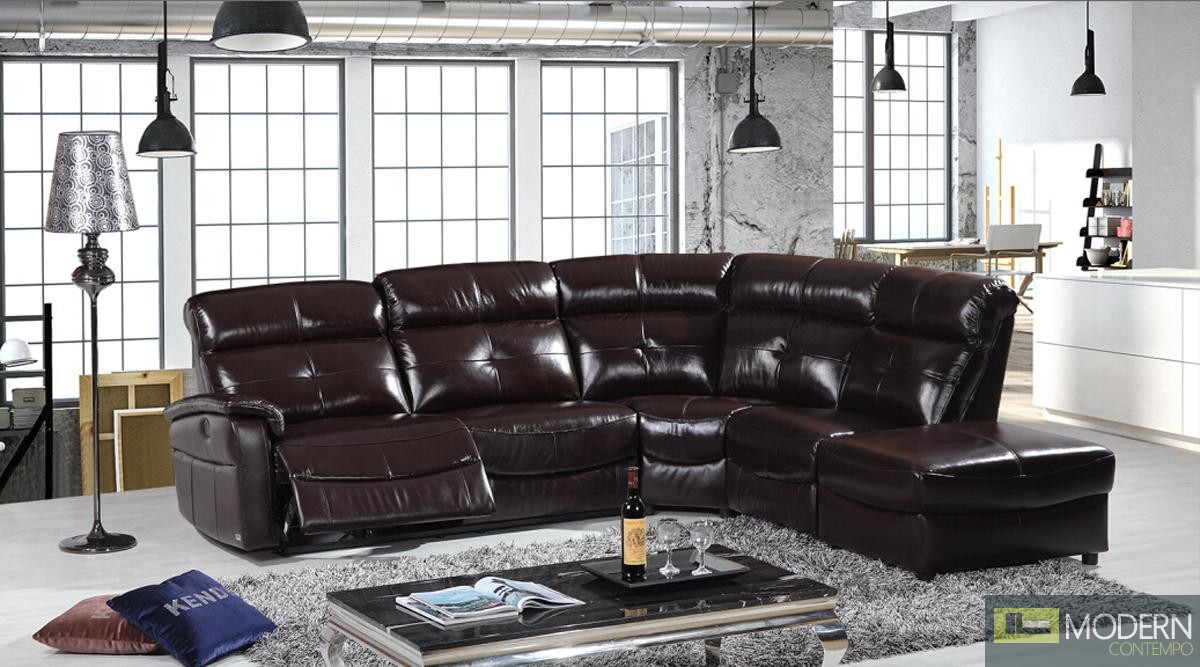 Divani Casa E9040 Modern Brown Eco-Leather Sectional Sofa