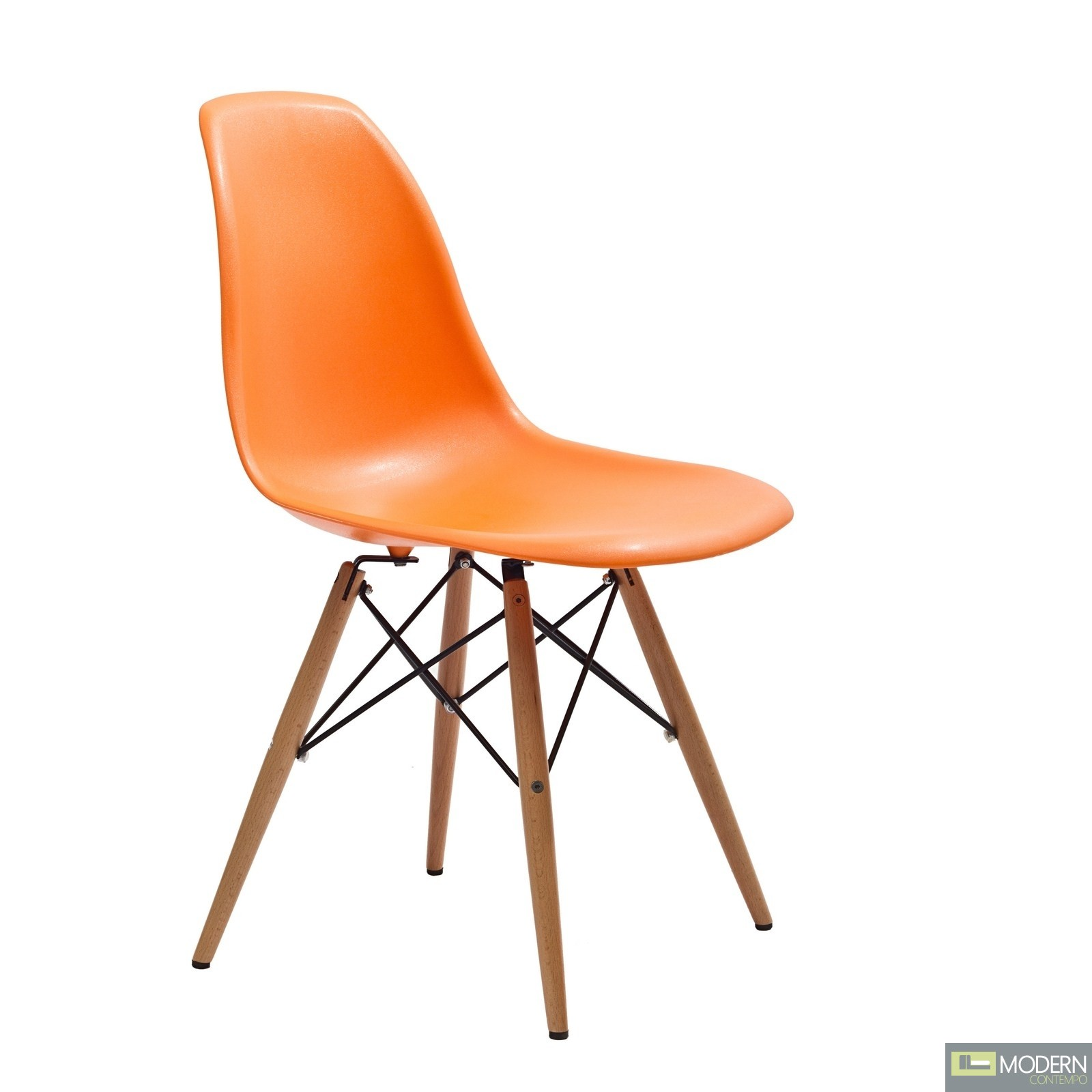 molded plastic chair with wooden dowell legs