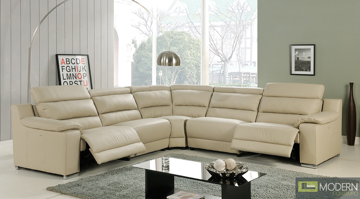 Modern Italian Leather Reclining Sectional Sofa